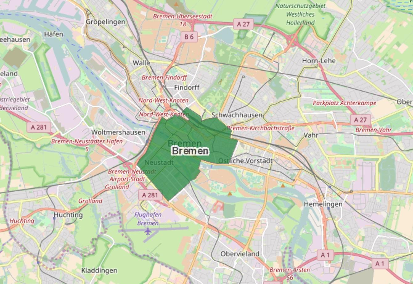 Low Emission Zone Map >> Bremen - Low Emission Zone - Green Zone